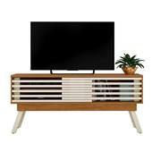 Bancada Frizz 1.5 para TV de até 65 Polegadas Portas Deslizantes e Pés Palito Naturale Fosco e Off White Brilho Sala de Estar - Madetec