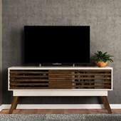 Bancada Frizz 1.5 para TV de até 65 Polegadas Portas Deslizantes e Pés Palito Off White Brilho e Savana Fosco Sala de Estar - Madetec