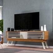 Bancada Frizz 1.8 para TV de até 65 Polegadas Portas Deslizantes e Pés Palito Naturale Fosco e Off White Brilho Sala de Estar - Madetec