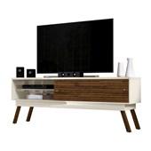 Bancada Frizz 1.8 para TV de até 65 Polegadas Portas Deslizantes e Pés Palito Off White Brilho e Savana Fosco Sala de Estar - Madetec