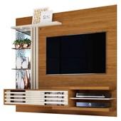 Bancada Painel Suspenso Frizz Supreme para TV de até 55 Polegadas com Prateleiras de Vidro e Luminária LED Naturale Fosco e Off White Brilho Sala de Estar - Madetec