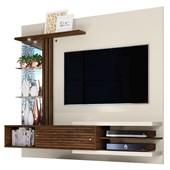 Bancada Painel Suspenso Frizz Supreme para TV de até 55 Polegadas com Prateleiras de Vidro e Luminária LED Off White Brilho e Savana Fosco Sala de Estar - Madetec