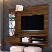 Bancada Painel Suspenso Frizz Supreme para TV de até 55 Polegadas com Prateleiras de Vidro e Luminária LED Savana Fosco Sala de Estar - Madetec