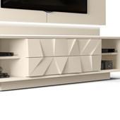 Bancada Rack Colone 100% MDF Detalhes 3D para TV de até 75 Polegadas Creme e Castanne para Sala de Estar - DJ Móveis