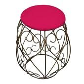 Banco Banqueta Pufe Pufinho Puff Puf Decorativo Redondo Manuella com Base de Ferro Suede Pink para Sala de Estar Recepção Quarto - AM Decor