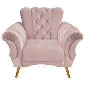 Banco Poltrona Sofá Cadeira Decorativa Poltrona Berlim Capitonê Suede Rosê Consultório Sala de Estar Recepção Quarto - AM Decor