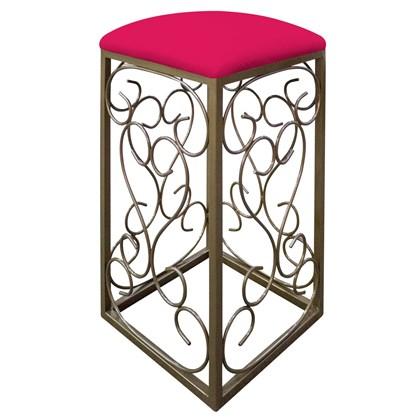 Banqueta Banco Pufe Pufinho Puff Puf Decorativo Quadrado Valentina com Base de Ferro Suede Pink para Sala de Estar Recepção Quarto - AM Decor
