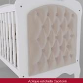 Berço Capitonê Elegante para Dormitório Quarto de Bebê Infantil Branco - Henn