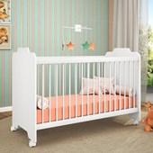 Berço com Rodízios Ternura para Quarto Infantil Branco - Peternella Baby