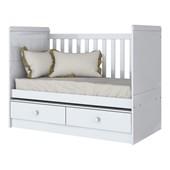 Berço Mini Cama 3 em 1 Aquarela para Quarto de Bebê Infantil Dormitório Branco - Henn