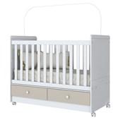 Berço Mini Cama 3 em 1 Aquarela para Quarto de Bebê Infantil Dormitório Cristal e Branco - Henn