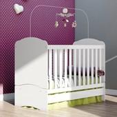 Berço Mini Cama 3 em 1 Bala de Menta para Quarto de Bebê Infantil Dormitório Branco - Henn
