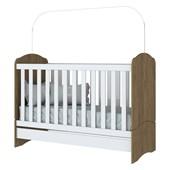 Berço Mini Cama 3 em 1 Bala de Menta para Quarto de Bebê Infantil Dormitório Rústico e Branco - Henn