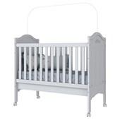 Berço Mini Cama 3 em 1 Provençal para Quarto de Bebê Infantil Dormitório Branco - Henn