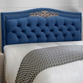 Cabeceira Belize Estofada Capitonê 140 cm para Cama Quarto Box Casal Suede Luxor Azul Ref 2302 - Amarena