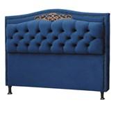 Cabeceira Belize Estofada Capitonê 160 cm para Cama Quarto Box Queen Size Suede Luxor Azul Ref 2302 - Amarena