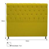 Cabeceira Estofada Cristal Cama Box King Size 195  Cm Com Capitonê Quarto Suede Amarelo - JS Móveis