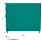Cabeceira Estofada Cristal Cama Box King Size 195  Cm Com Capitonê Quarto Suede Azul Turquesa - JS Móveis