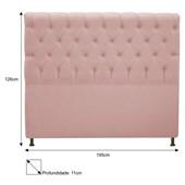 Cabeceira Estofada Cristal Cama Box King Size 195  Cm Com Capitonê Quarto Suede Rosê - JS Móveis