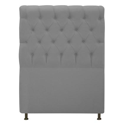 Cabeceira Estofada Cristal Cama Box Solteiro 90 Cm Com Capitonê Quarto Suede Cinza - JS Móveis