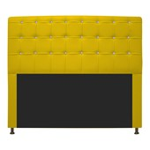 Cabeceira Estofada Dama com Strass 160 cm para Cama Box Queen Corano Amarelo para Quarto - AM Decor