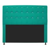 Cabeceira Estofada Dama com Strass 160 cm para Cama Box Queen Corano Azul Turquesa para Quarto - AM Decor