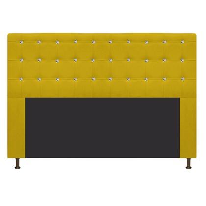 Cabeceira Estofada Dama com Strass 160 cm para Cama Box Queen Suede Amarelo para Quarto - AM Decor