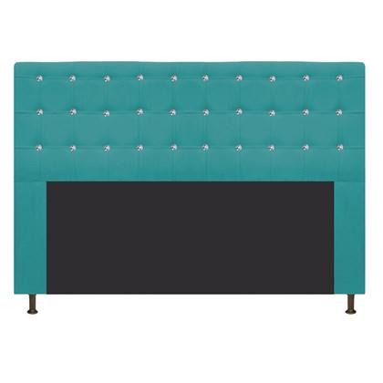 Cabeceira Estofada Dama com Strass 160 cm para Cama Box Queen Suede Azul Turquesa para Quarto - AM Decor