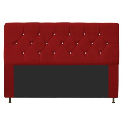 Cabeceira Estofada França para Cama Box King Size 195 Cm Com Strass Quarto Suede Vermelho - AM Decor
