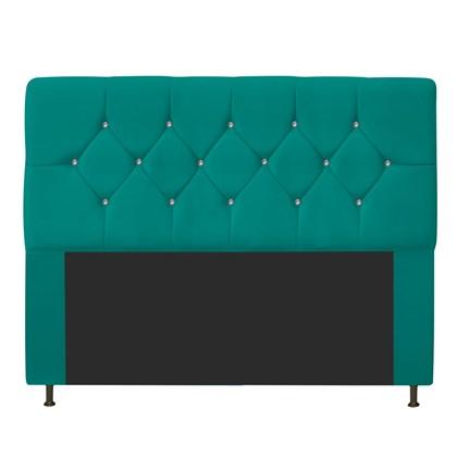 Cabeceira Estofada França para Cama Box Queen Size 160 Cm Com Strass Quarto Suede Azul Turquesa - AM Decor