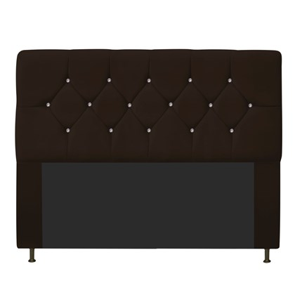 Cabeceira Estofada França para Cama Box Queen Size 160 Cm Com Strass Quarto Suede Chocolate - AM Decor