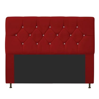 Cabeceira Estofada França para Cama Box Queen Size 160 Cm Com Strass Quarto Suede Vermelho - AM Decor
