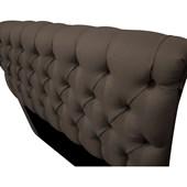 Cabeceira Estofada Paris Cama Box King Size 195 Cm Com Capitonê Quarto Suede Bison - JS Móveis