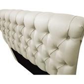 Cabeceira Estofada Paris Cama Box King Size 195 Cm Com Capitonê Quarto Suede Off White - JS Móveis