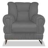 Cadeira Decorativa Poltrona do Papai Nancy Estofada Com Base Cromada Corano Cinza para Sala de Estar Recepção Quarto Conforto - AM Decor