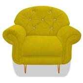 Cadeira Sofá Poltrona Decorativa Dinamarca Botonê Pés Palito com Strass Suede Amarelo para Sala de Estar Recepção Quarto - AM Decor