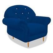 Cadeira Sofá Poltrona Decorativa Dinamarca Botonê Pés Palito com Strass Suede Azul Marinho para Sala de Estar Recepção Quarto  - AM Decor