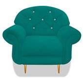 Cadeira Sofá Poltrona Decorativa Dinamarca Botonê Pés Palito com Strass Suede Azul Turquesa para Sala de Estar Recepção  Quarto - AM Decor