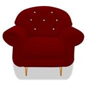 Cadeira Sofá Poltrona Decorativa Dinamarca Botonê Pés Palito com Strass Suede Bordô para Sala de Estar Recepção - AM Decor