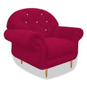 Cadeira Sofá Poltrona Decorativa Dinamarca Botonê Pés Palito com Strass Suede  Pink para Sala de Estar Recepção Quarto - AM Decor