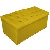 Calçadeira Recamier Estofada Baú Mel Capitonê 100 cm Suede Amarelo Quarto - AM Decor