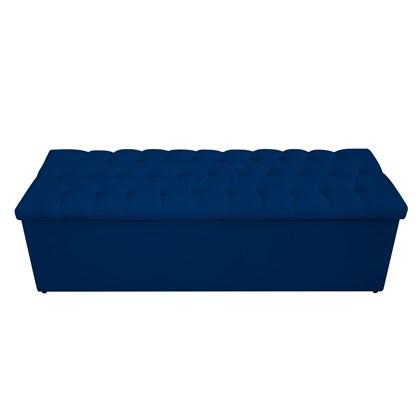 Calçadeira Recamier Estofada Baú Mel Capitonê 195 cm Suede Azul Marinho Quarto - AM Decor