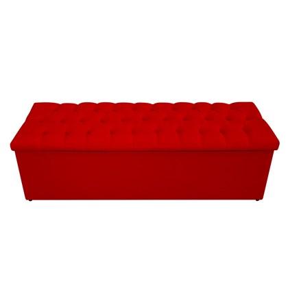 Calçadeira Recamier Estofada Baú Mel Capitonê 195 cm Suede Vermelho Quarto - AM Decor