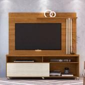 Combo Composição Frizz Bancada mais Painel para TV de até 65 Polegadas com Rodízios e Luminária LED Naturale Fosco e Off White Brilho - Madetec