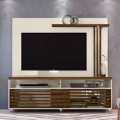 Combo Composição Frizz Bancada mais Painel para TV de até 65 Polegadas com Rodízios e Luminária LED Off White Brilho e Savana Fosco - Madetec