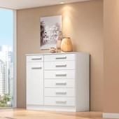 Cômoda 7 Gavetas e Porta Aurora Móveis Branco para Quarto de Solteiro ou Casal - Demóbile