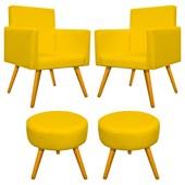 Conjunto 2 Poltrona Decorativa Cadeira Beatriz Pés Palito mais 2 Puf Pufe Pufinho Redondo Sofia Corano Amarelo para Consultório Sala de Estar Recepção Quarto - AM Decor
