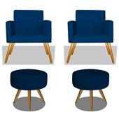 Conjunto 2 Poltrona Decorativa Cadeira Beatriz Pés Palito mais 2 Puf Pufe Pufinho Redondo Sofia Corano Azul Marinho para Consultório Sala de Estar Recepção Quarto - AM Decor
