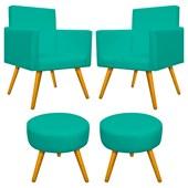 Conjunto 2 Poltrona Decorativa Cadeira Beatriz Pés Palito mais 2 Puf Pufe Pufinho Redondo Sofia Corano Azul Turquesa para Consultório Sala de Estar Recepção Quarto - AM Decor