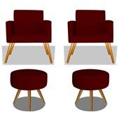 Conjunto 2 Poltrona Decorativa Cadeira Beatriz Pés Palito mais 2 Puf Pufe Pufinho Redondo Sofia Corano Bordô para Consultório Sala de Estar Recepção Quarto - AM Decor